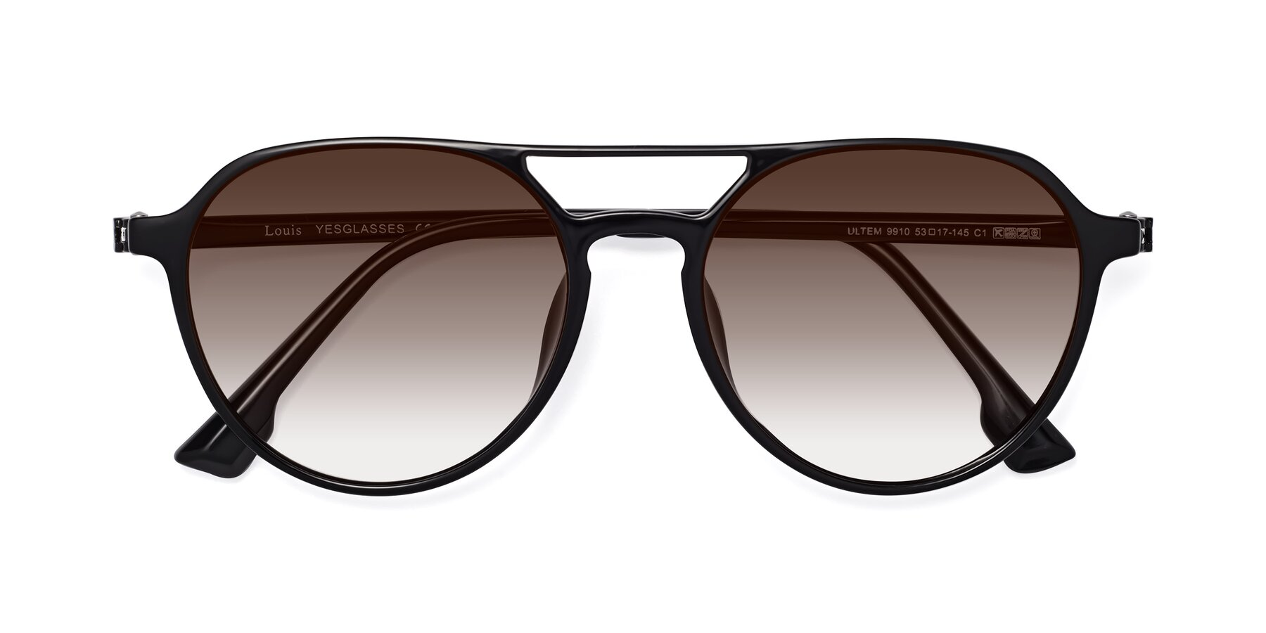 Folded Front of Louis in Black with Brown Gradient Lenses