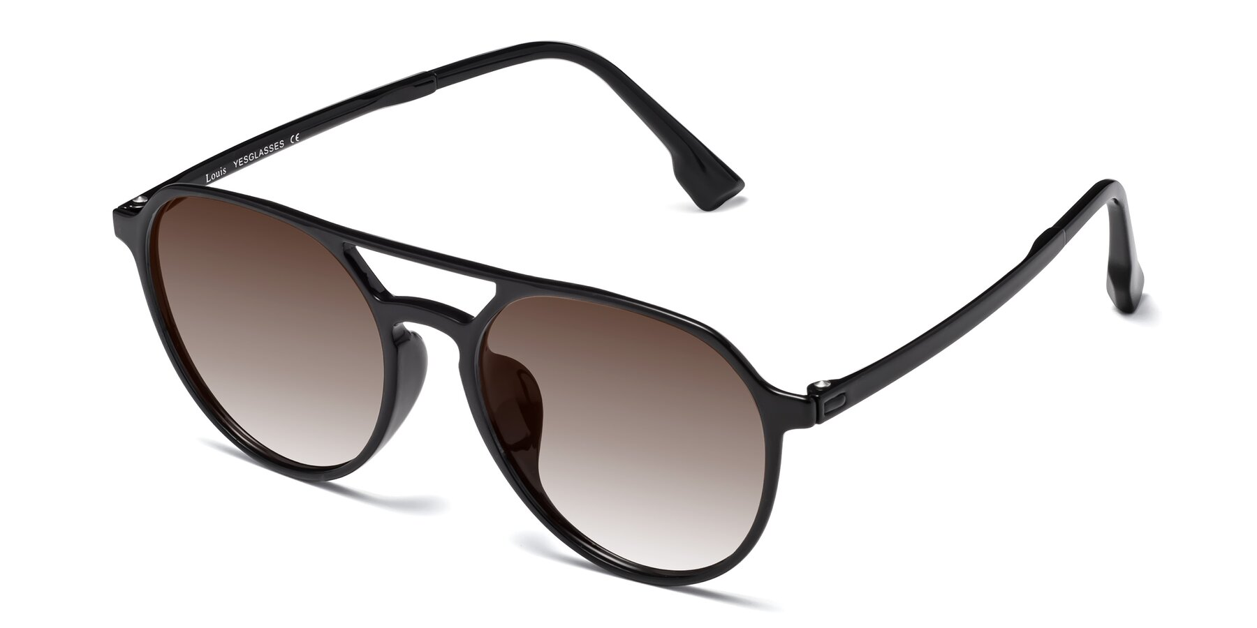Angle of Louis in Black with Brown Gradient Lenses