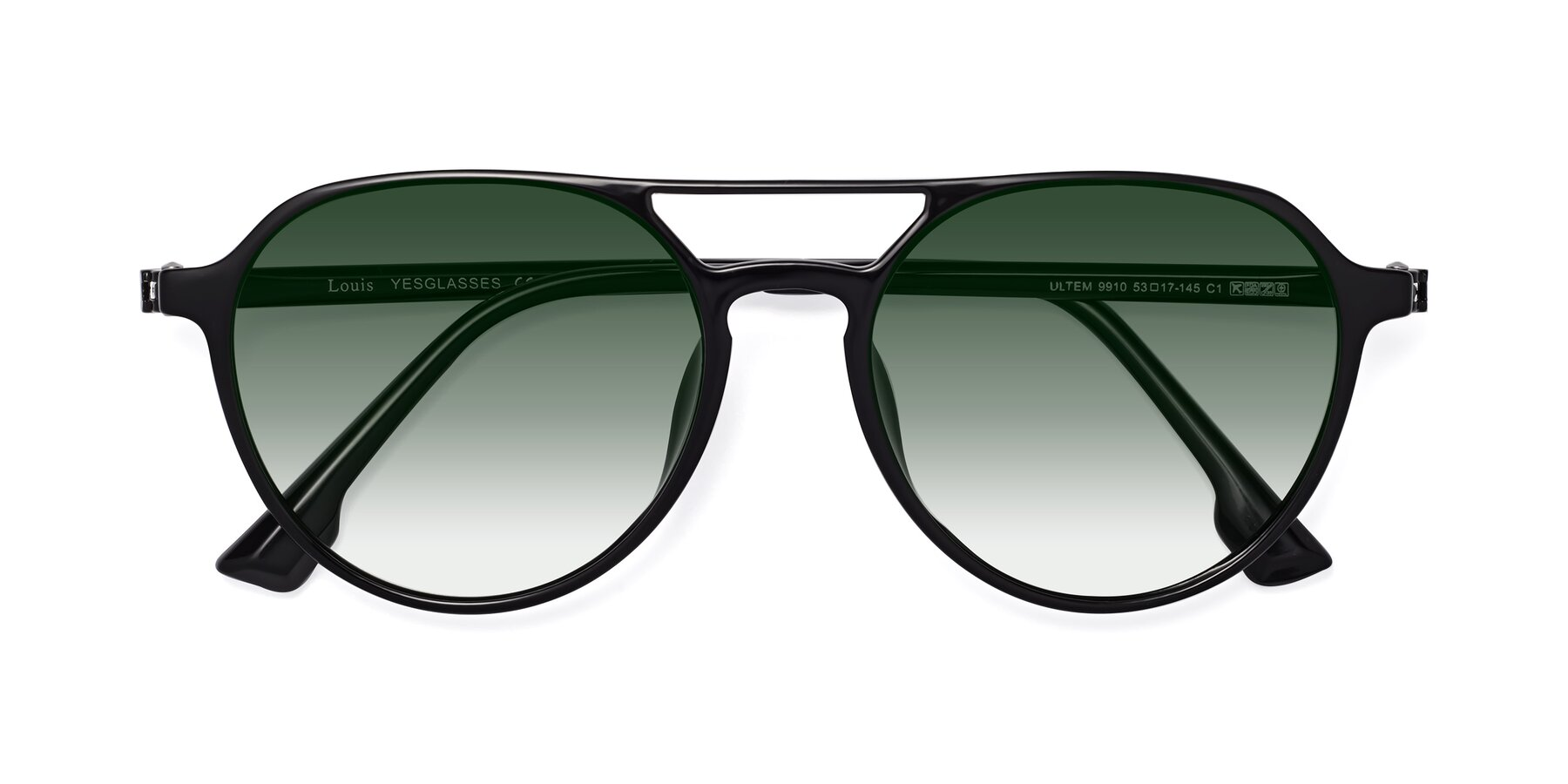 Folded Front of Louis in Black with Green Gradient Lenses