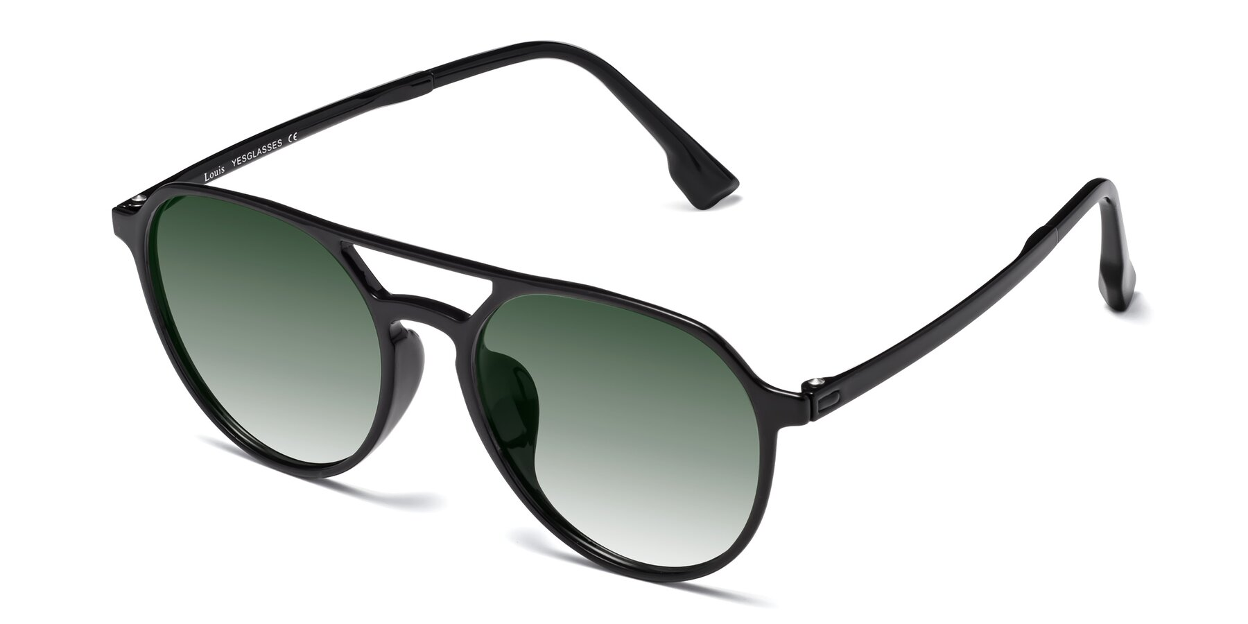 Angle of Louis in Black with Green Gradient Lenses