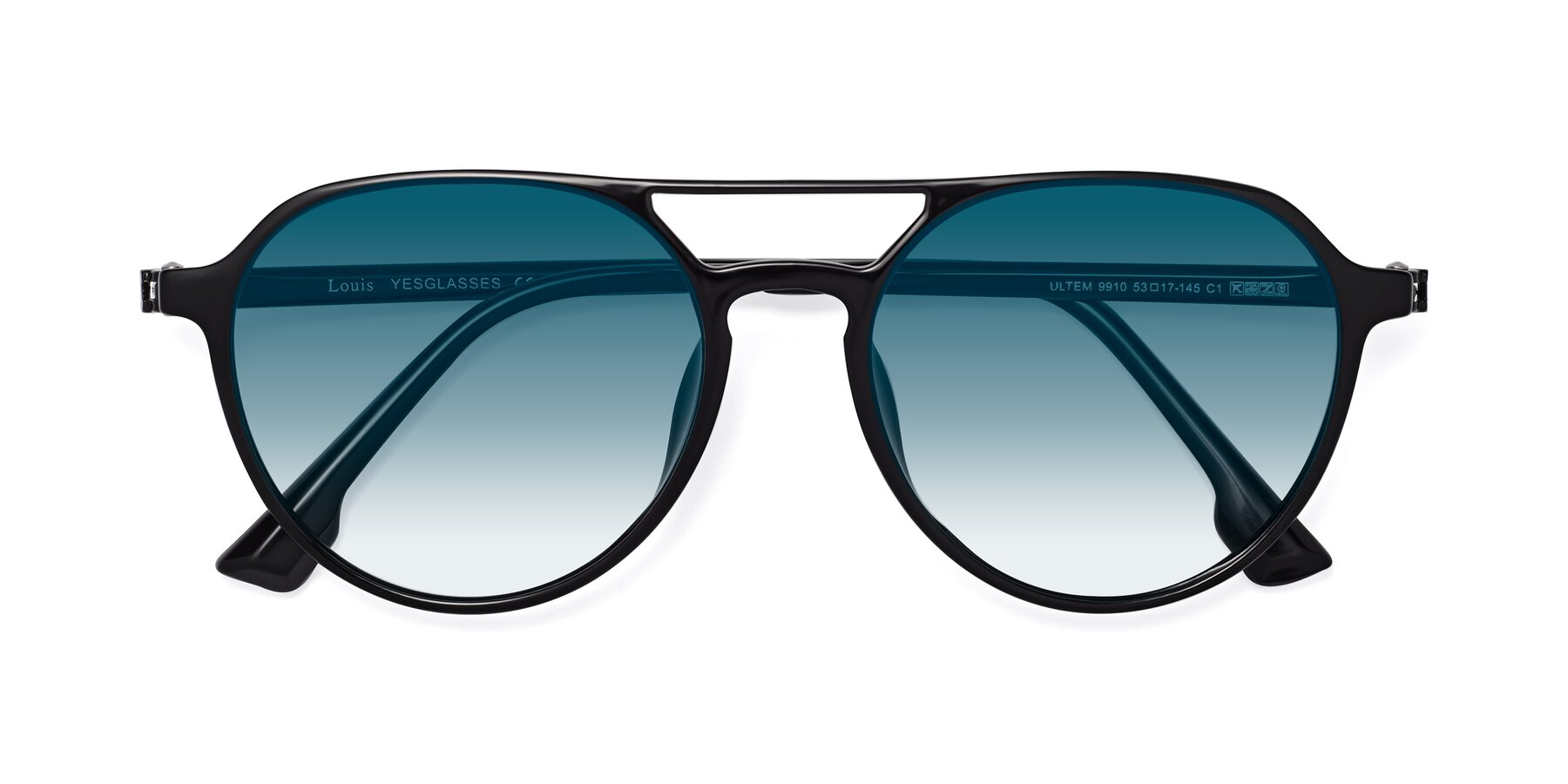 Folded Front of Louis in Black with Blue Gradient Lenses