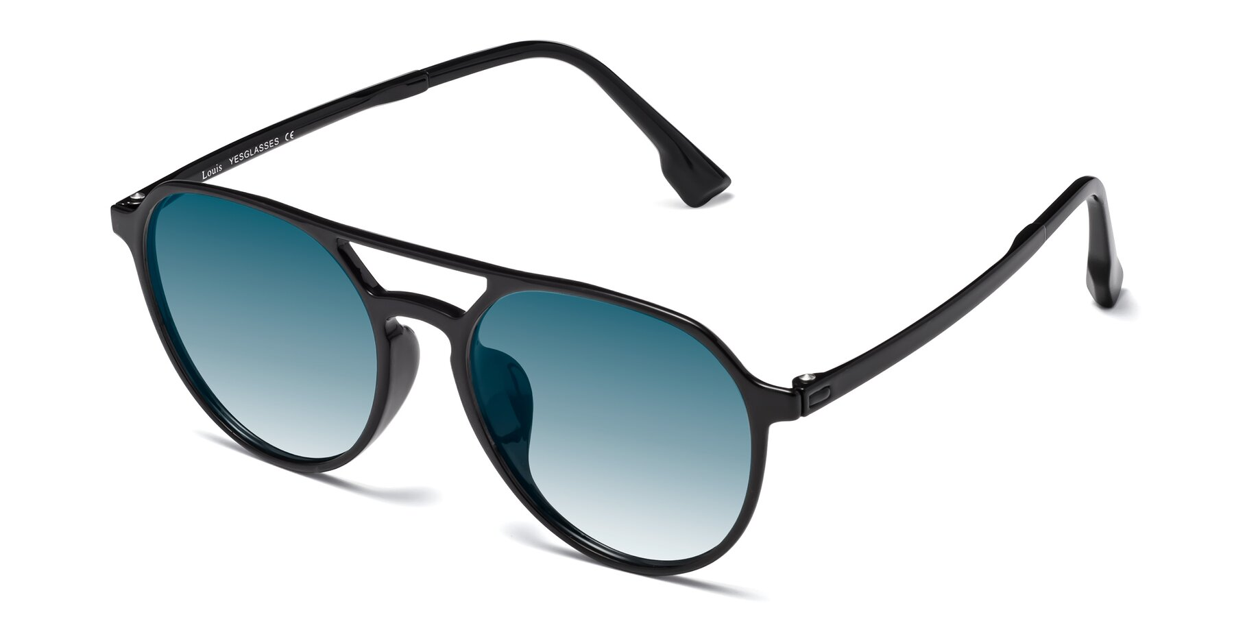 Angle of Louis in Black with Blue Gradient Lenses