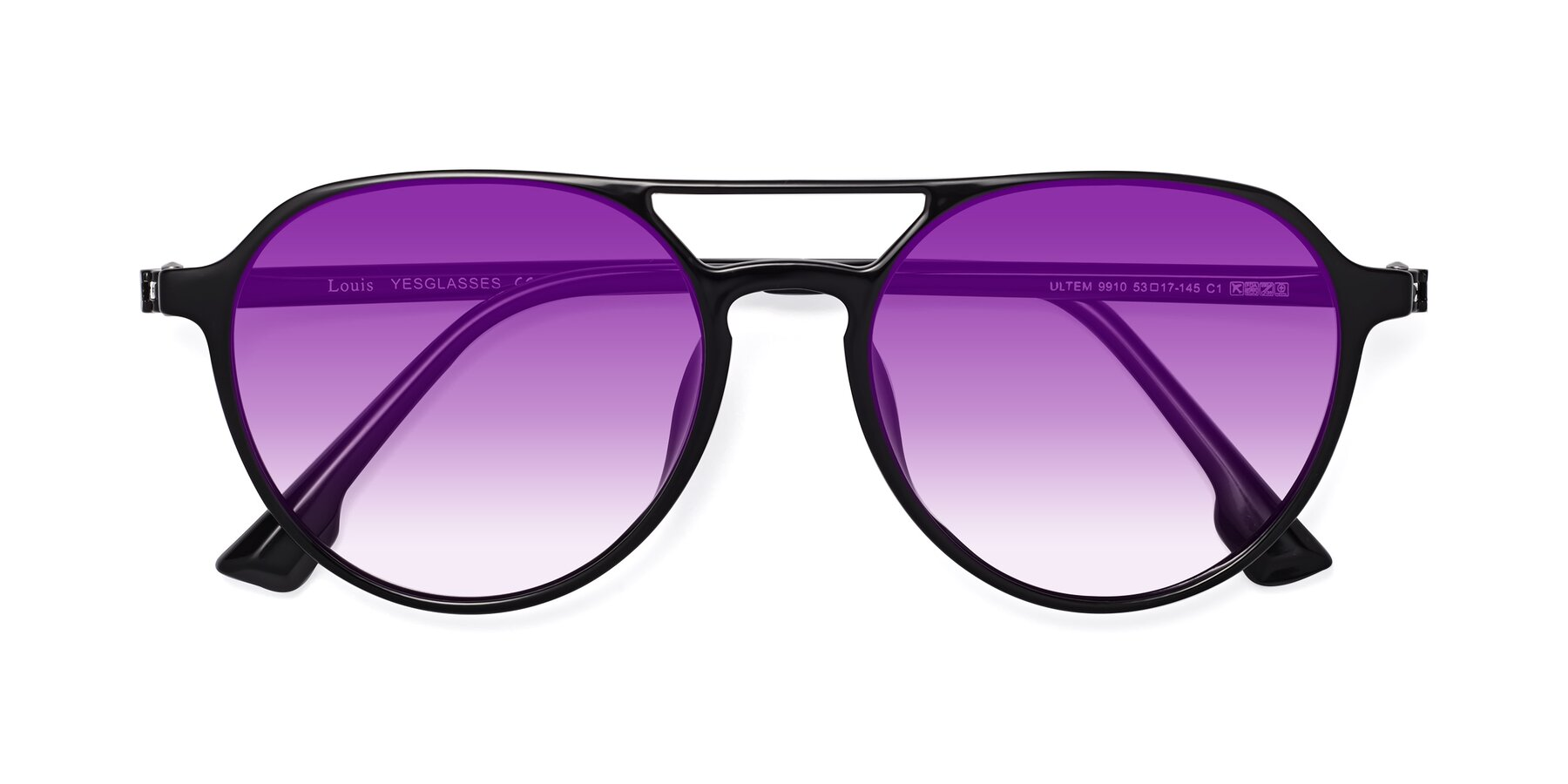 Folded Front of Louis in Black with Purple Gradient Lenses