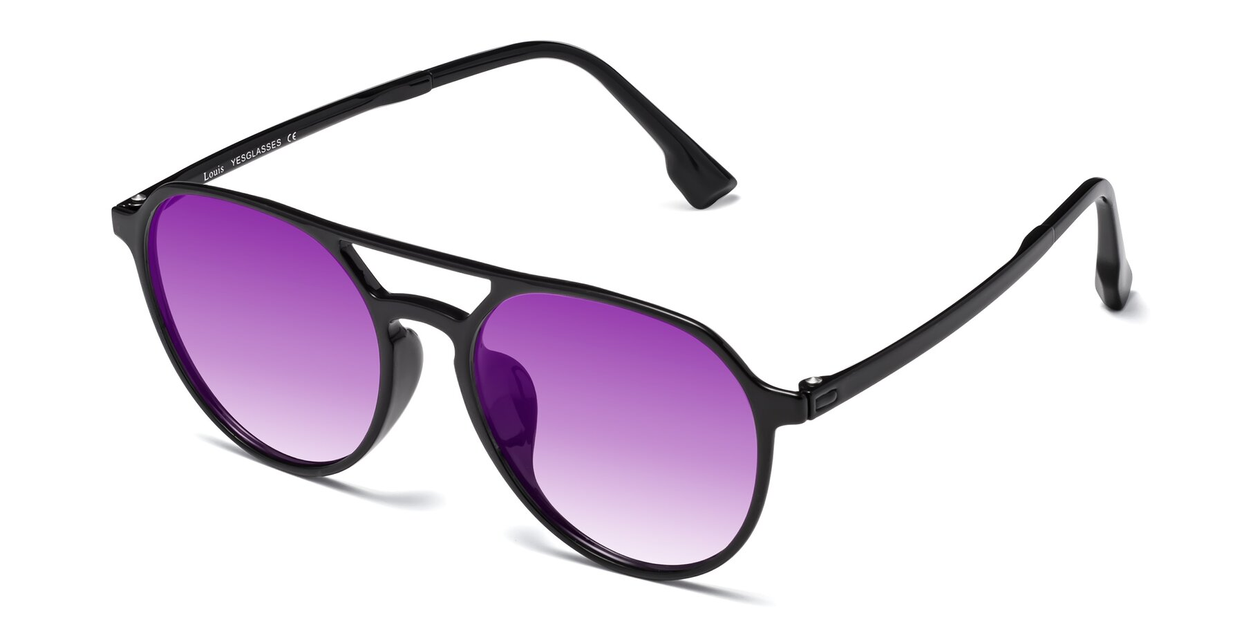 Angle of Louis in Black with Purple Gradient Lenses