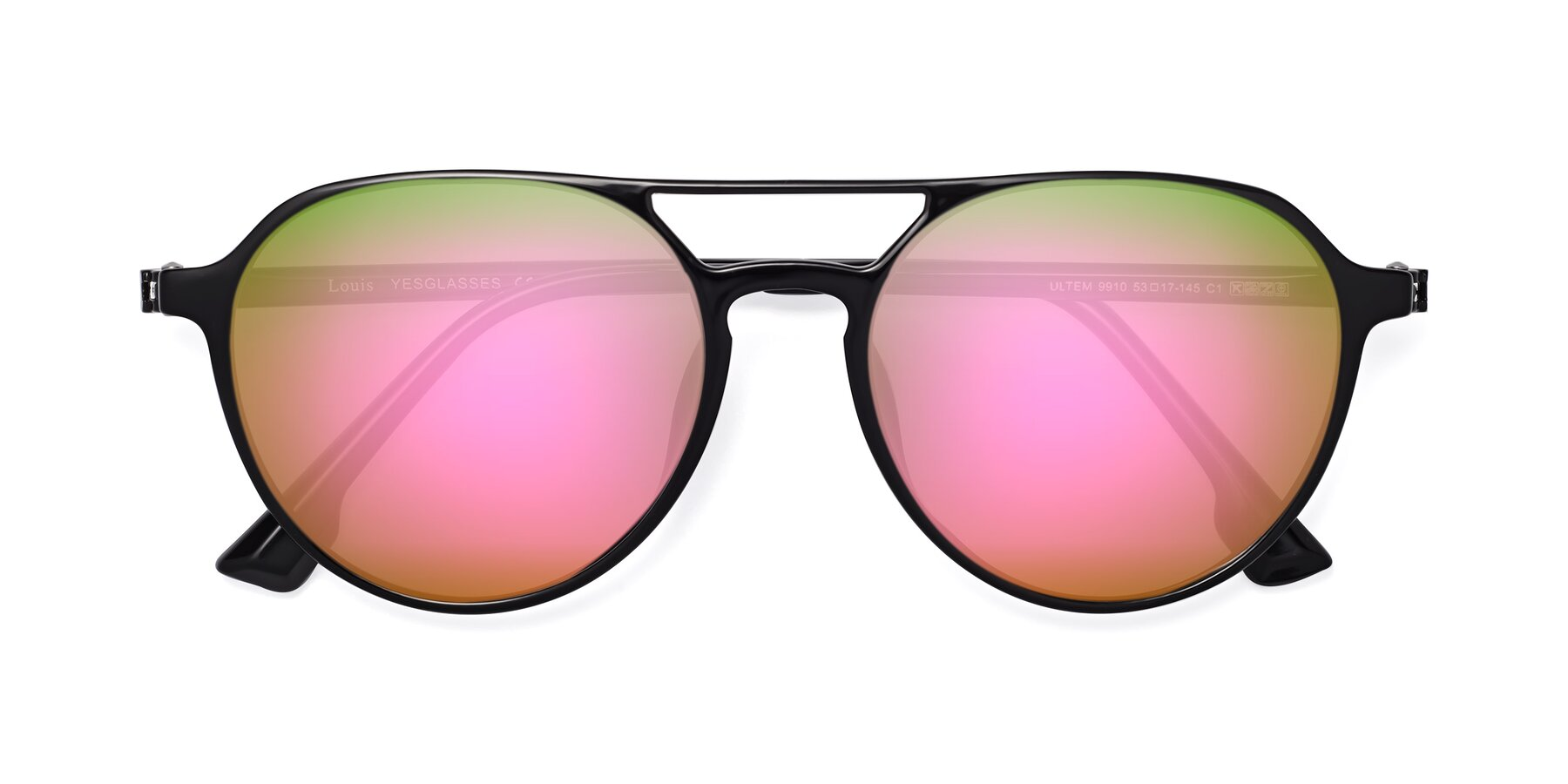 Folded Front of Louis in Black with Pink Mirrored Lenses