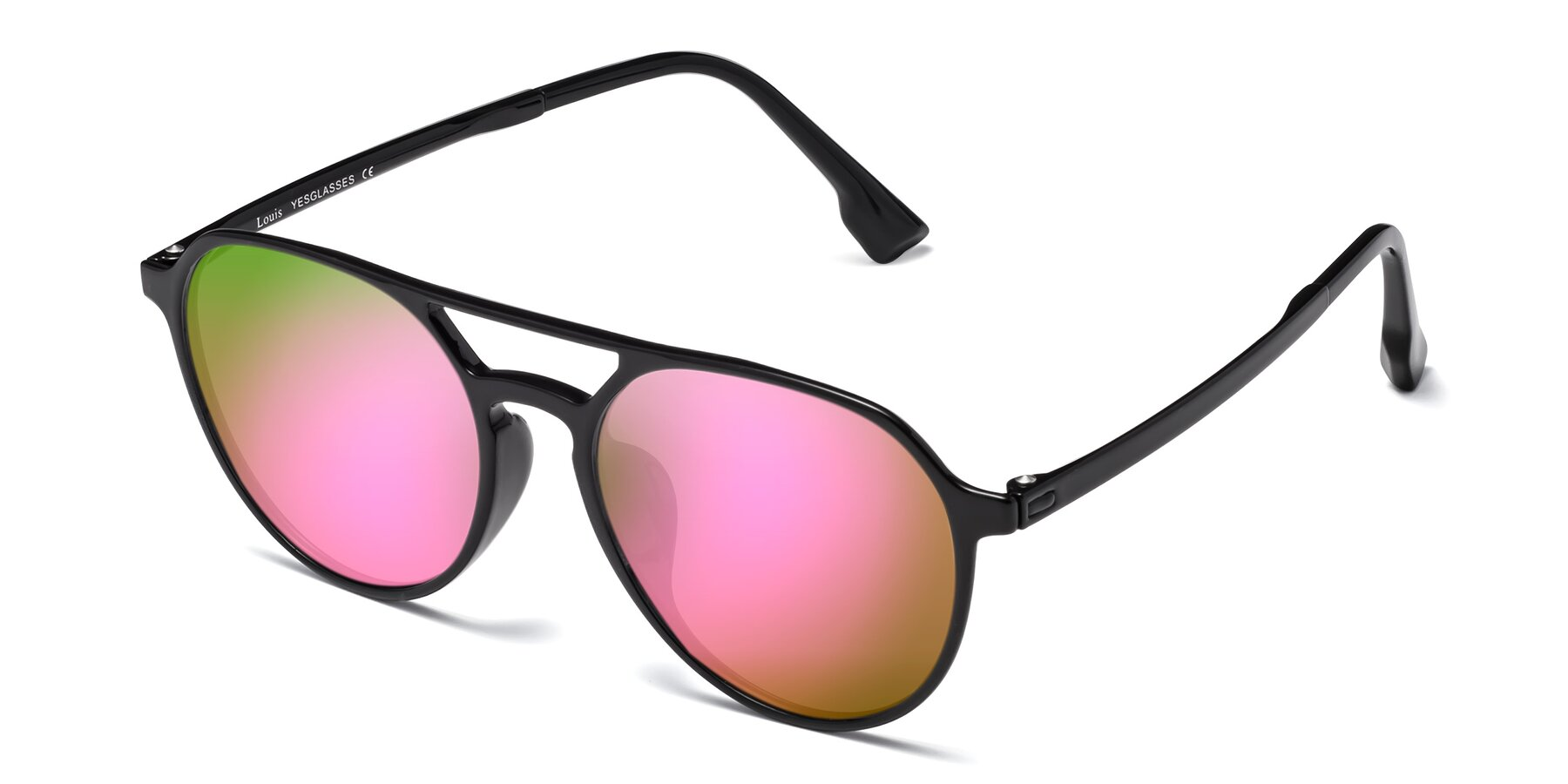 Angle of Louis in Black with Pink Mirrored Lenses