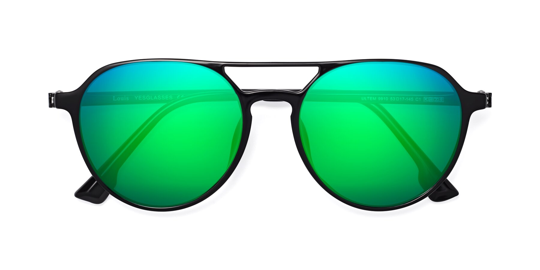 Folded Front of Louis in Black with Green Mirrored Lenses