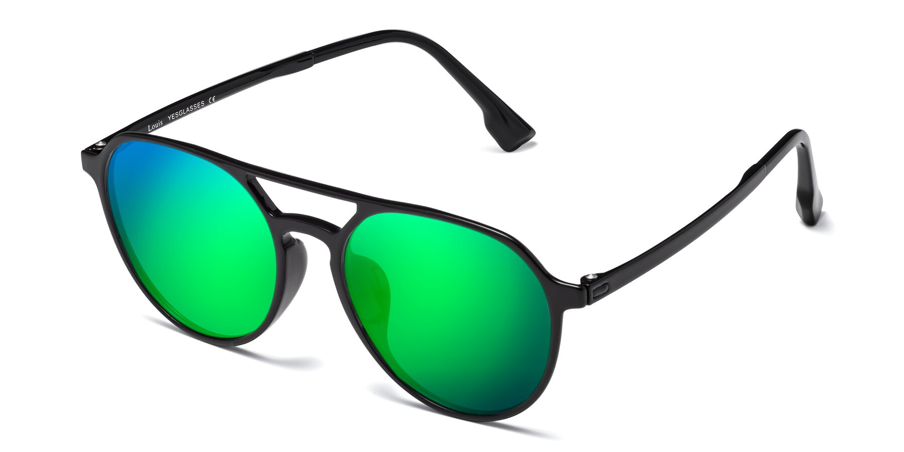 Angle of Louis in Black with Green Mirrored Lenses