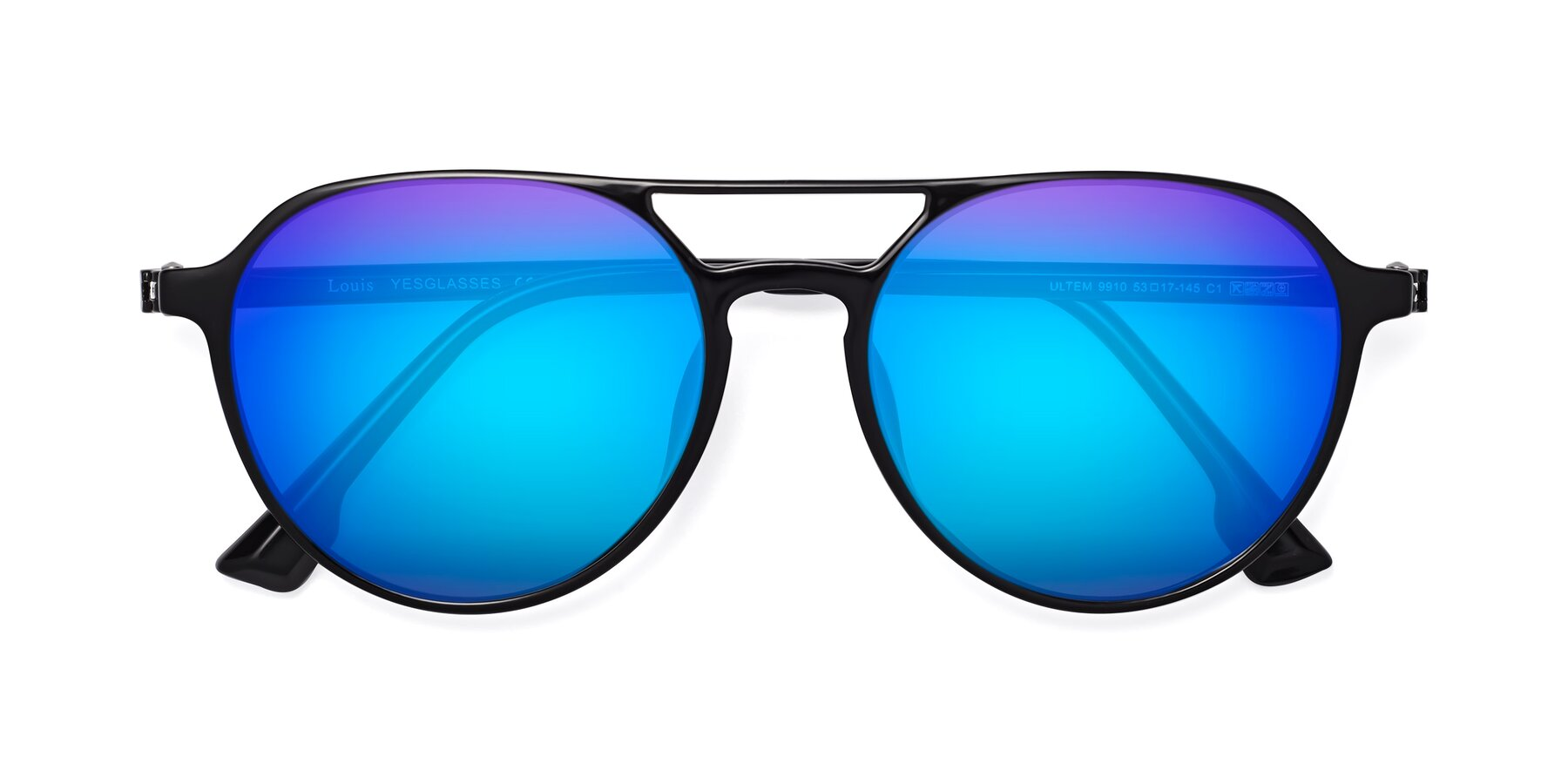 Folded Front of Louis in Black with Blue Mirrored Lenses