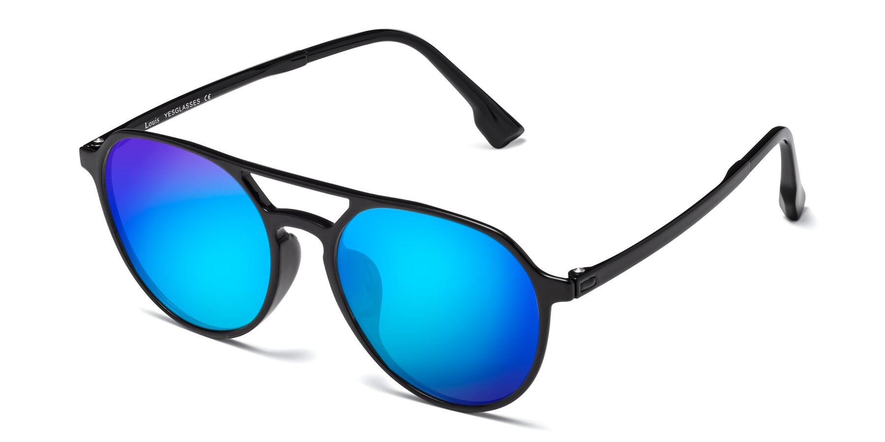 Angle of Louis in Black with Blue Mirrored Lenses