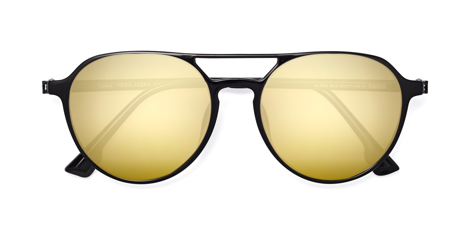 Folded Front of Louis in Black with Gold Mirrored Lenses