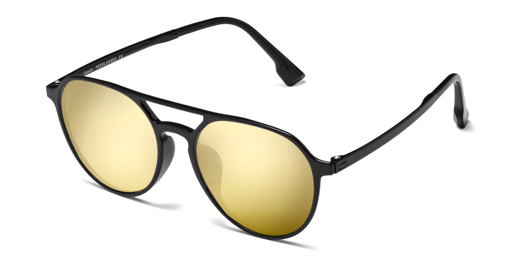 Angle of Louis in Black with Gold Mirrored Lenses