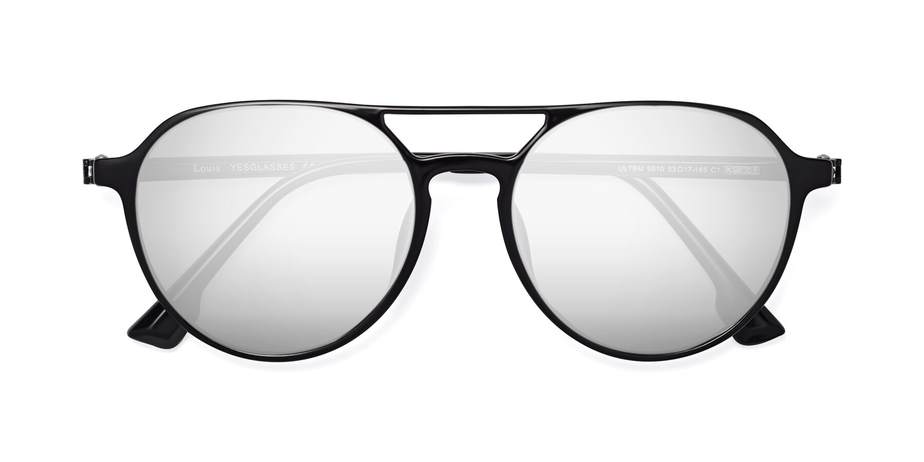 Folded Front of Louis in Black with Silver Mirrored Lenses
