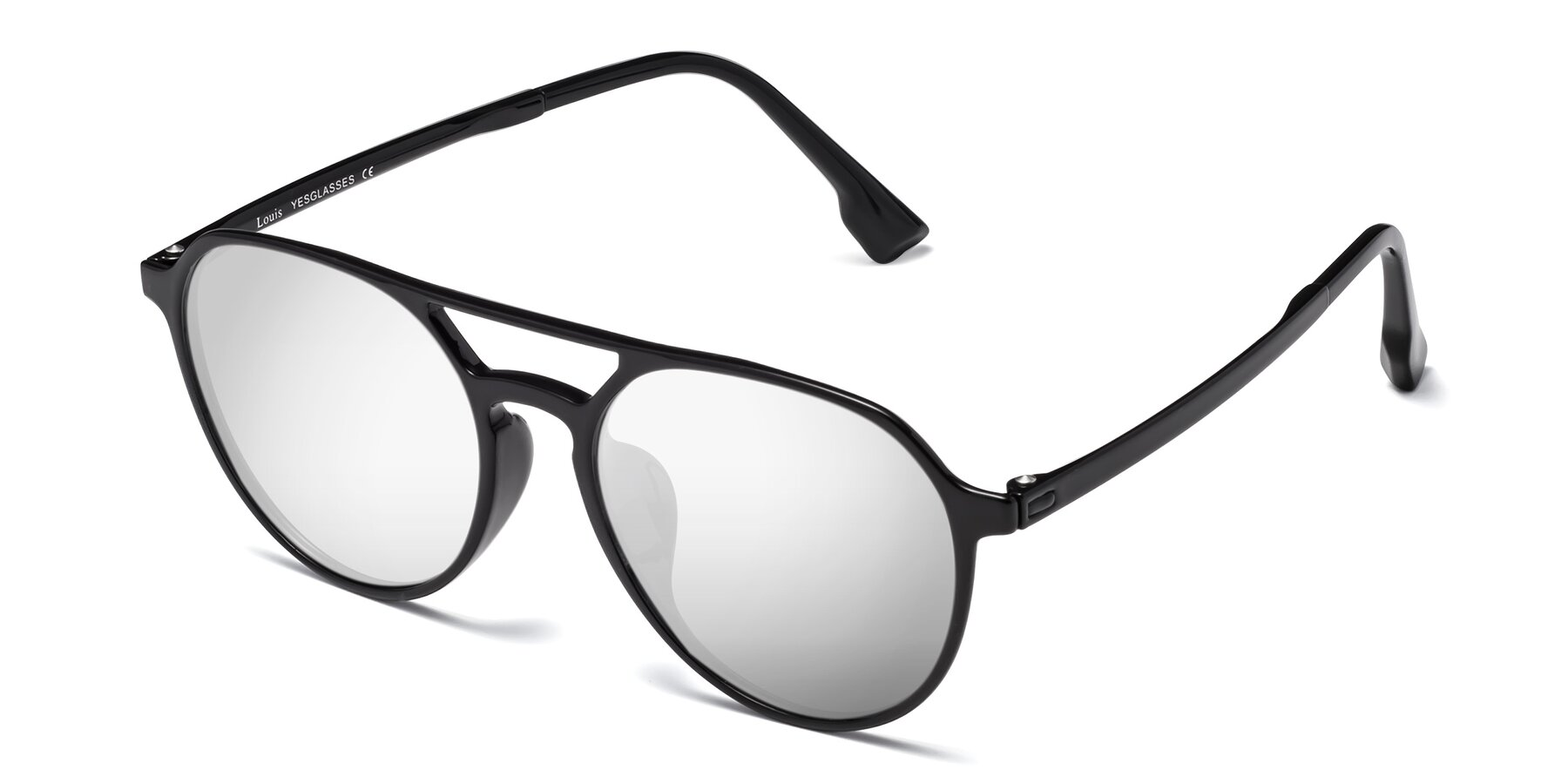 Angle of Louis in Black with Silver Mirrored Lenses