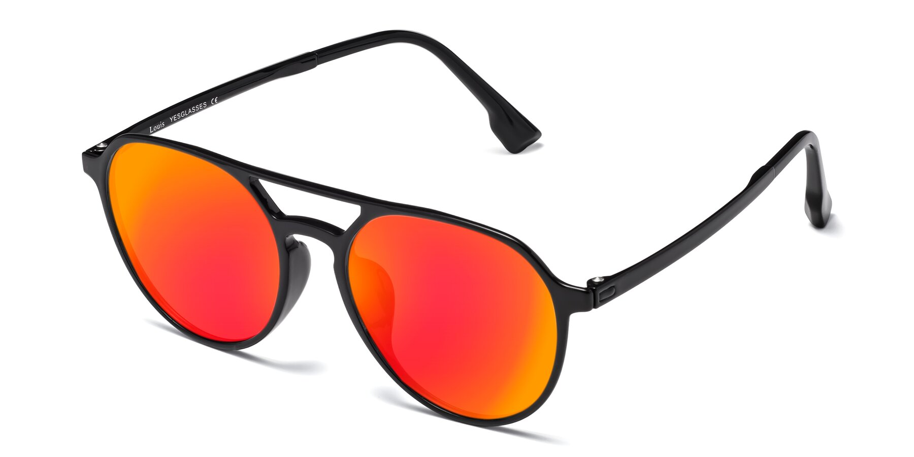 Angle of Louis in Black with Red Gold Mirrored Lenses
