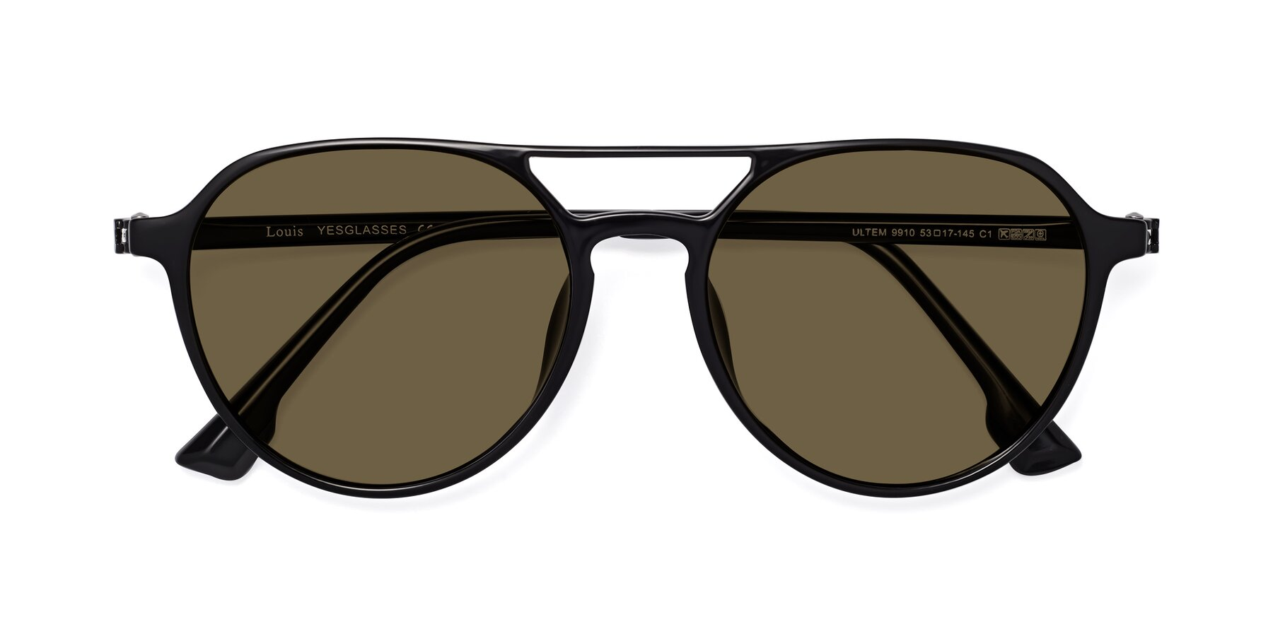 Folded Front of Louis in Black with Brown Polarized Lenses