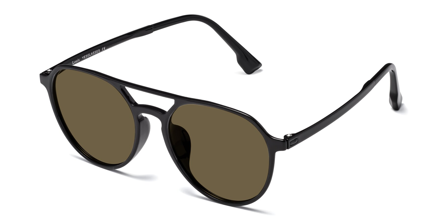Angle of Louis in Black with Brown Polarized Lenses