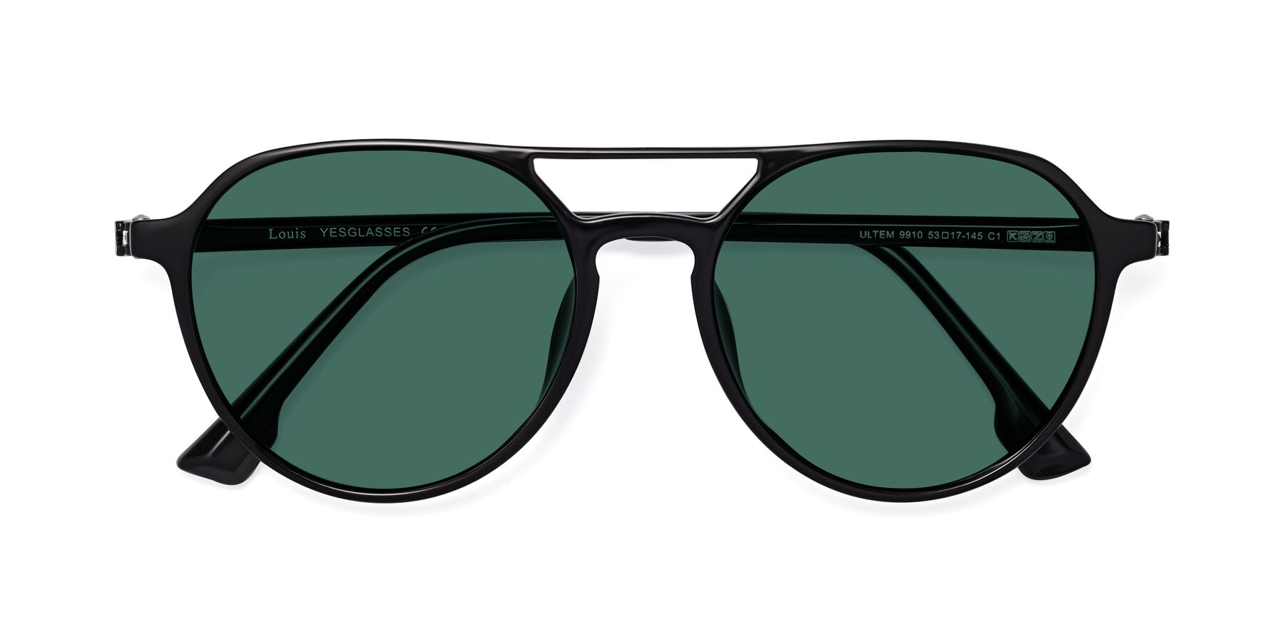 Folded Front of Louis in Black with Green Polarized Lenses