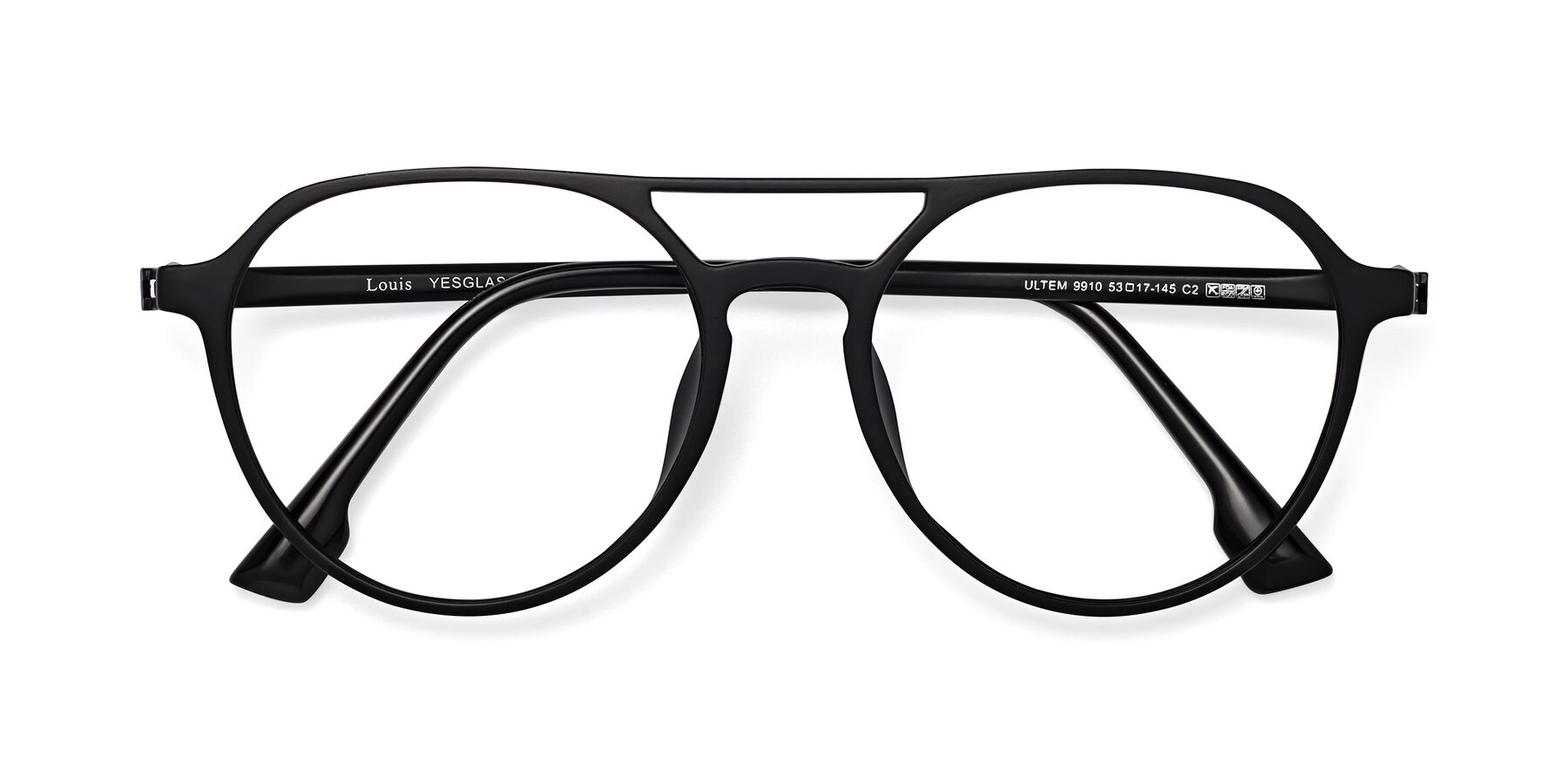 Folded Front of Louis in Matte Black with Clear Eyeglass Lenses