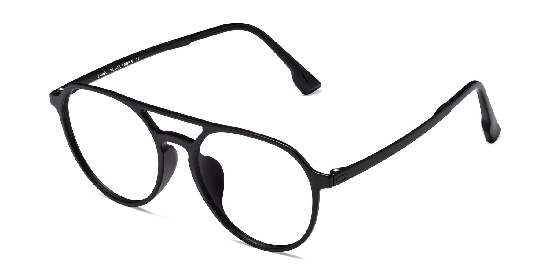 Angle of Louis in Matte Black with Clear Eyeglass Lenses