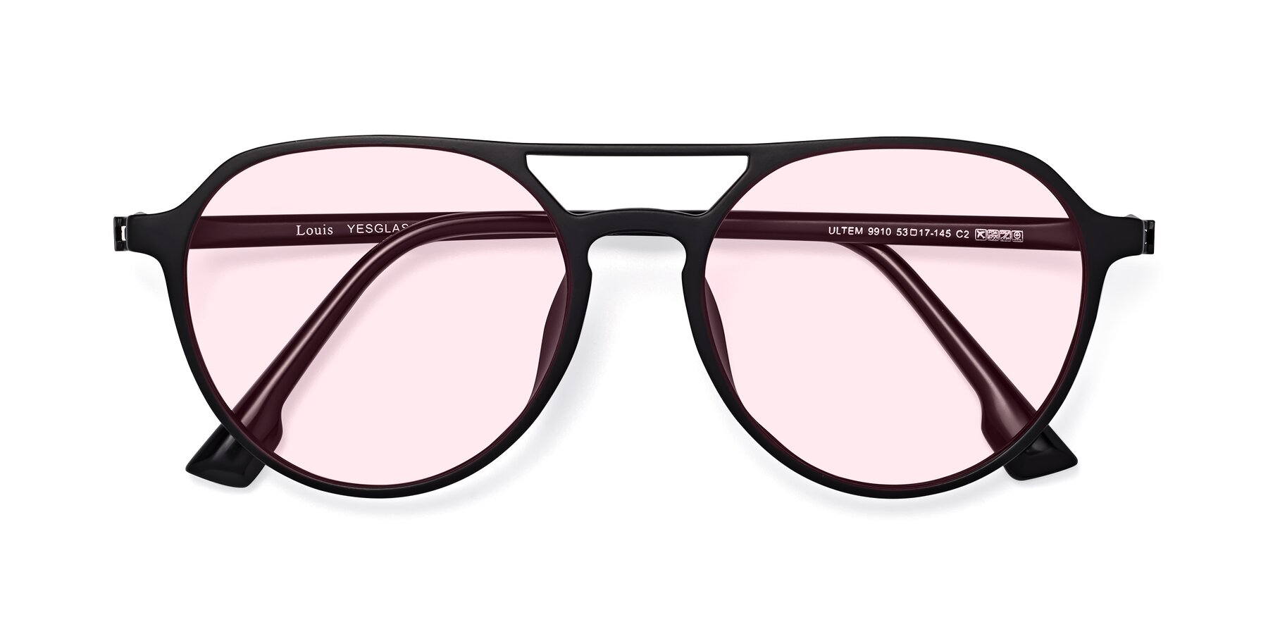 Folded Front of Louis in Matte Black with Light Pink Tinted Lenses