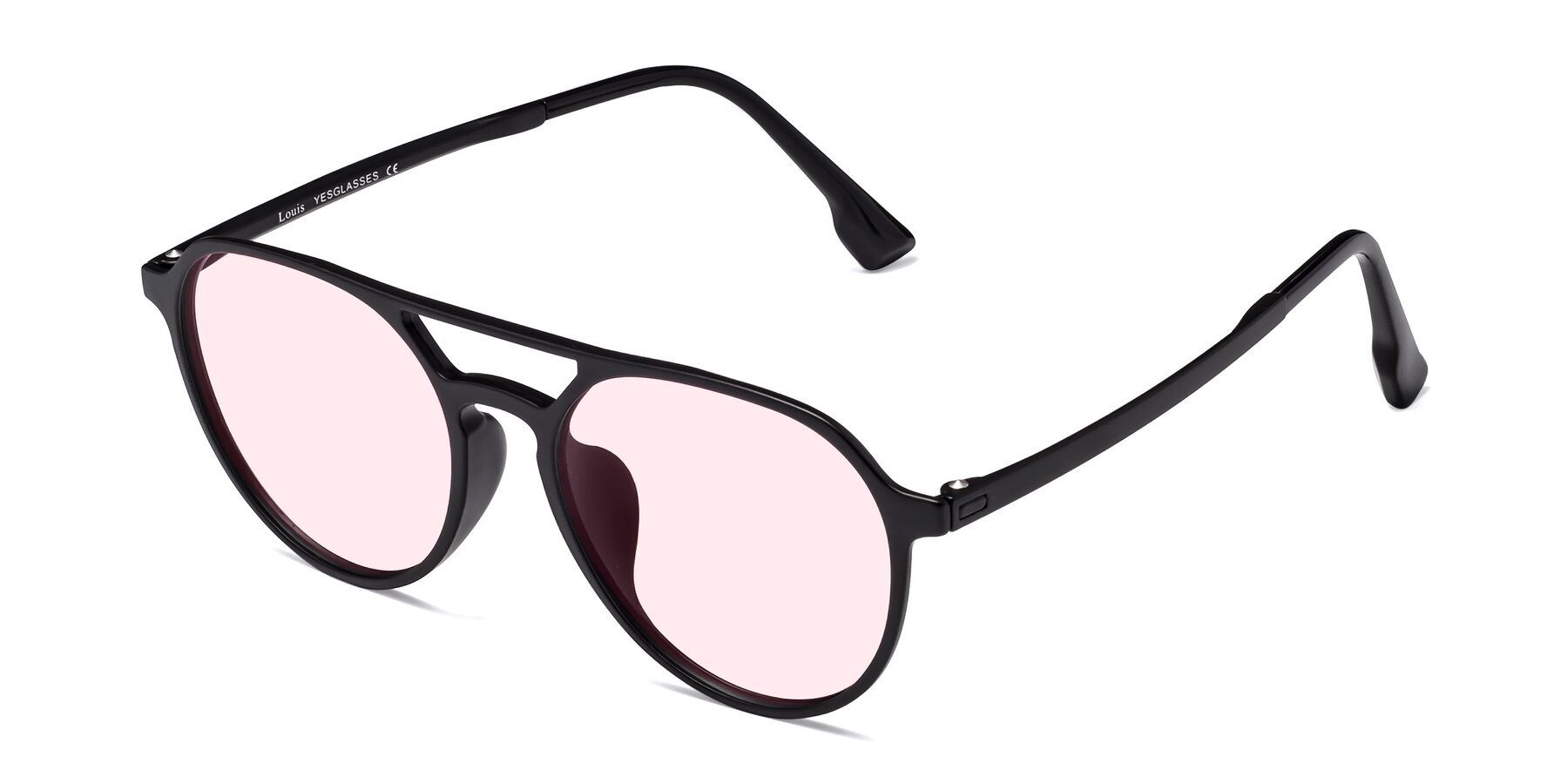 Angle of Louis in Matte Black with Light Pink Tinted Lenses