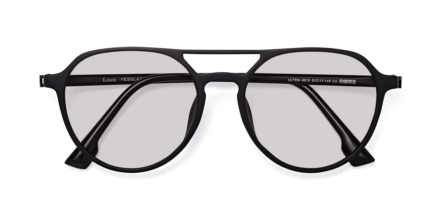 Folded Front of Louis in Matte Black with Light Gray Tinted Lenses
