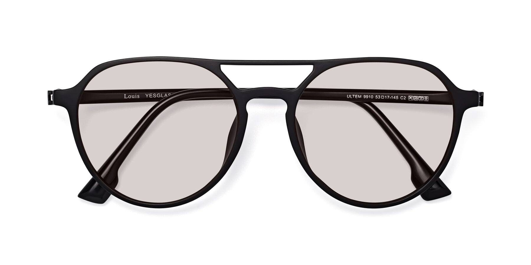 Folded Front of Louis in Matte Black with Light Brown Tinted Lenses