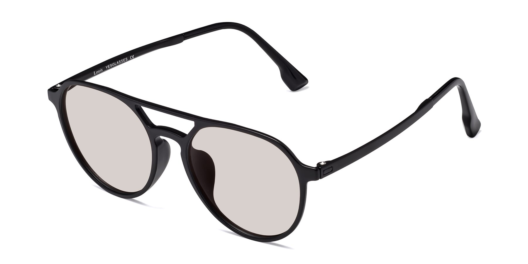 Angle of Louis in Matte Black with Light Brown Tinted Lenses