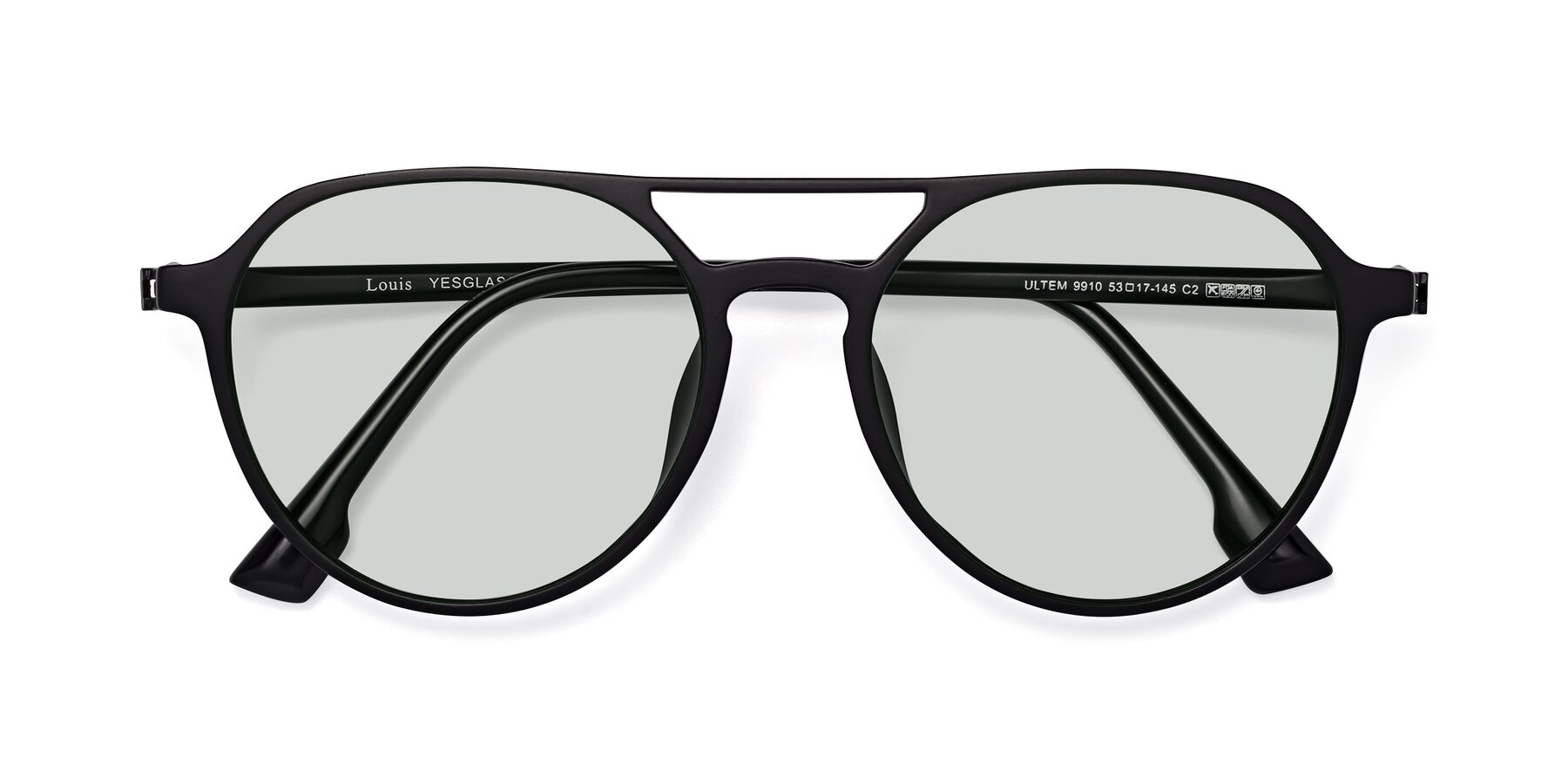 Folded Front of Louis in Matte Black with Light Green Tinted Lenses