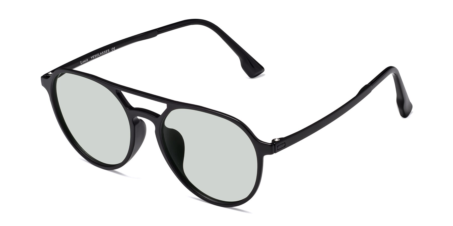 Angle of Louis in Matte Black with Light Green Tinted Lenses