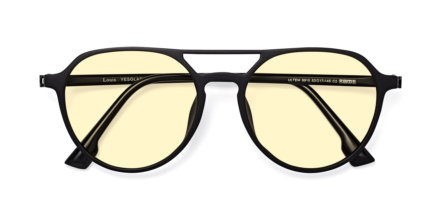 Folded Front of Louis in Matte Black with Light Yellow Tinted Lenses