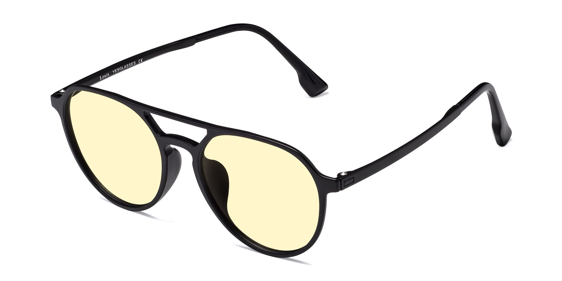 Angle of Louis in Matte Black with Light Yellow Tinted Lenses