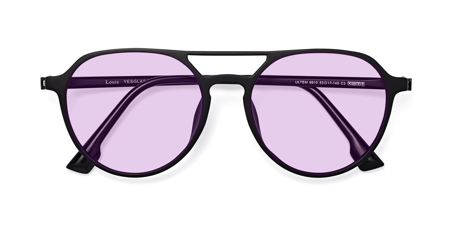 Folded Front of Louis in Matte Black with Light Purple Tinted Lenses