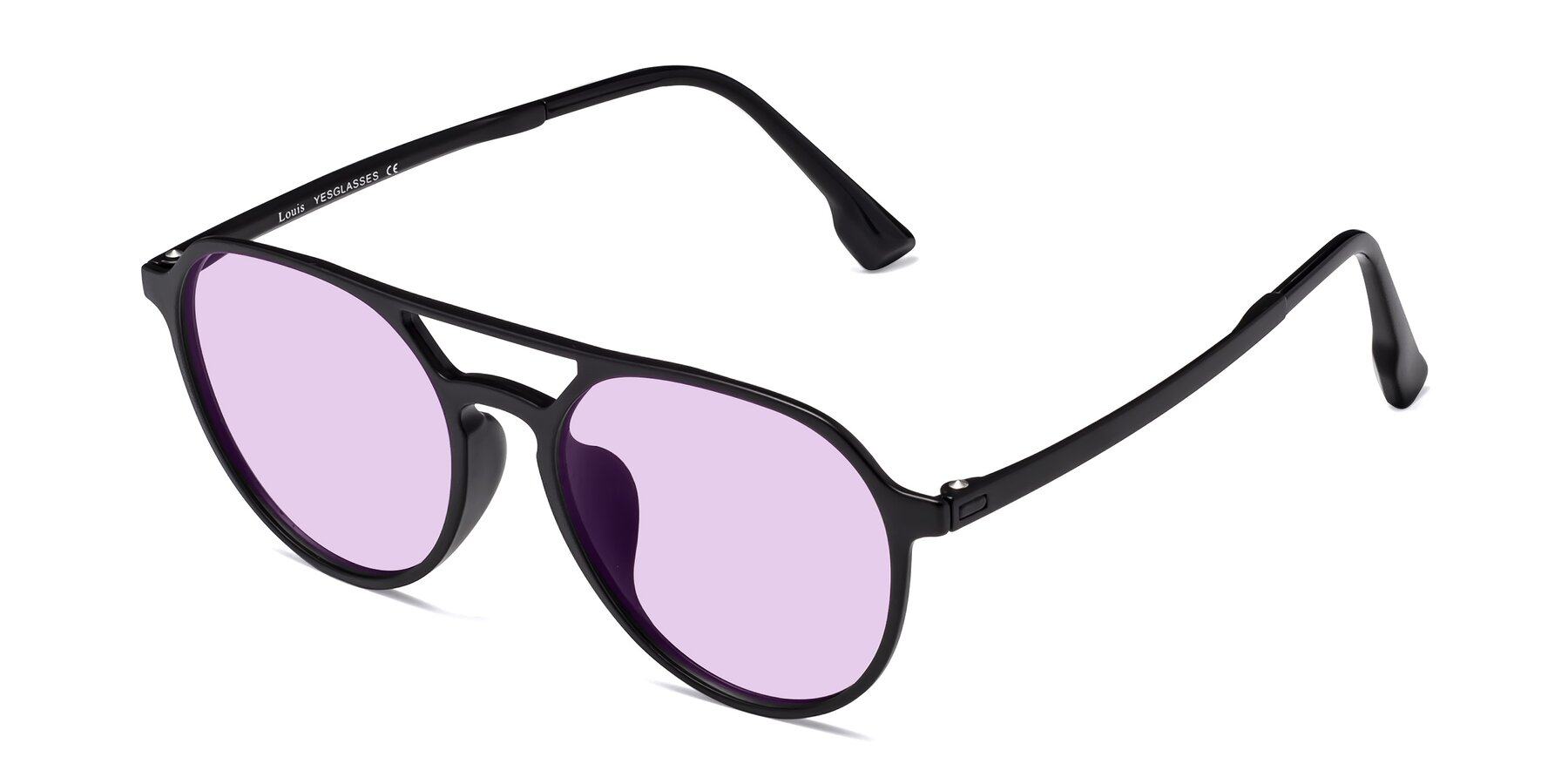 Angle of Louis in Matte Black with Light Purple Tinted Lenses