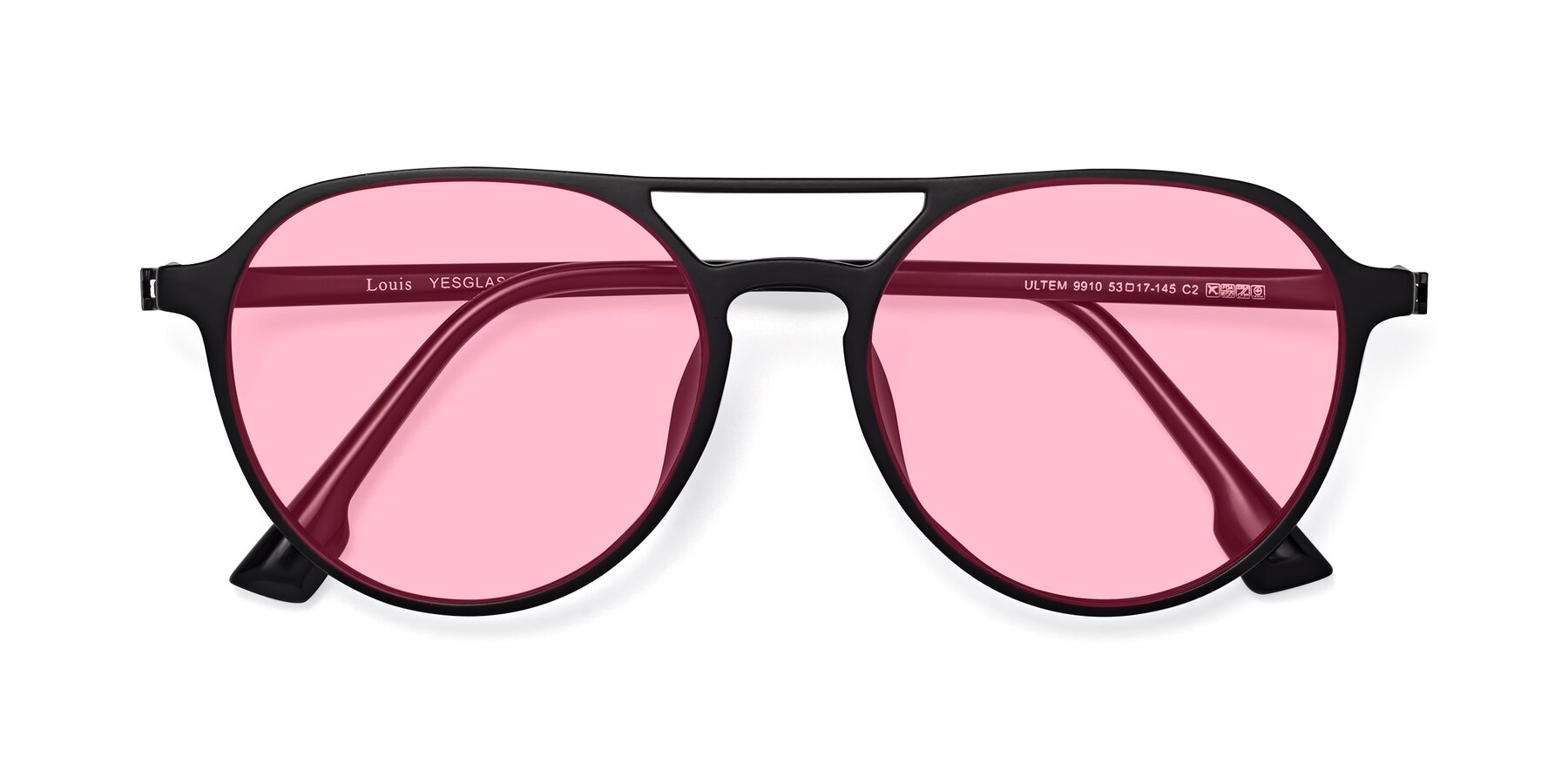 Folded Front of Louis in Matte Black with Medium Pink Tinted Lenses