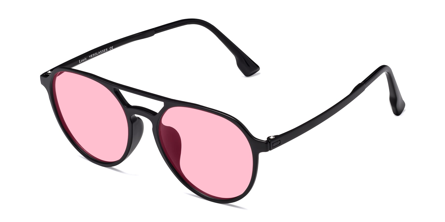 Angle of Louis in Matte Black with Medium Pink Tinted Lenses