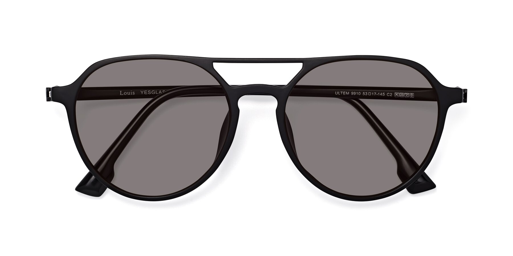 Folded Front of Louis in Matte Black with Medium Gray Tinted Lenses