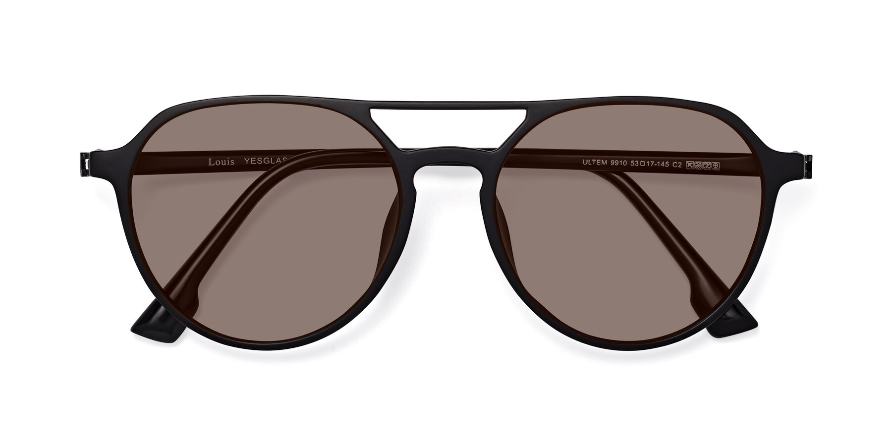 Folded Front of Louis in Matte Black with Medium Brown Tinted Lenses