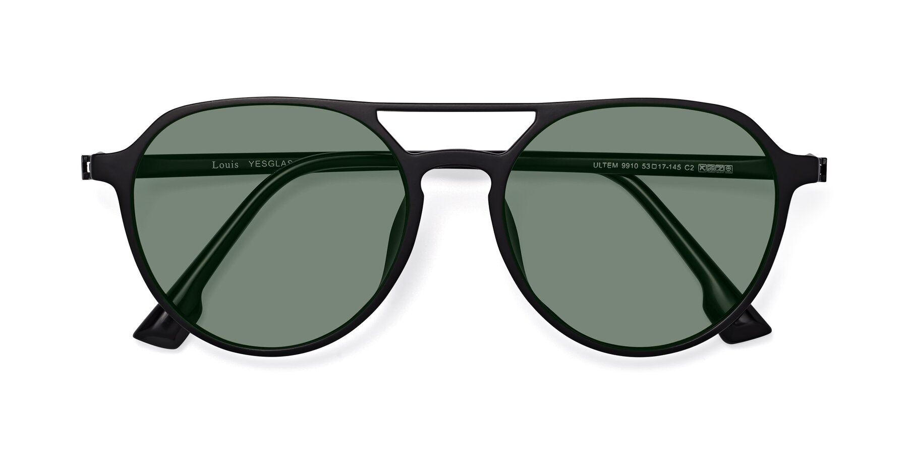 Folded Front of Louis in Matte Black with Medium Green Tinted Lenses