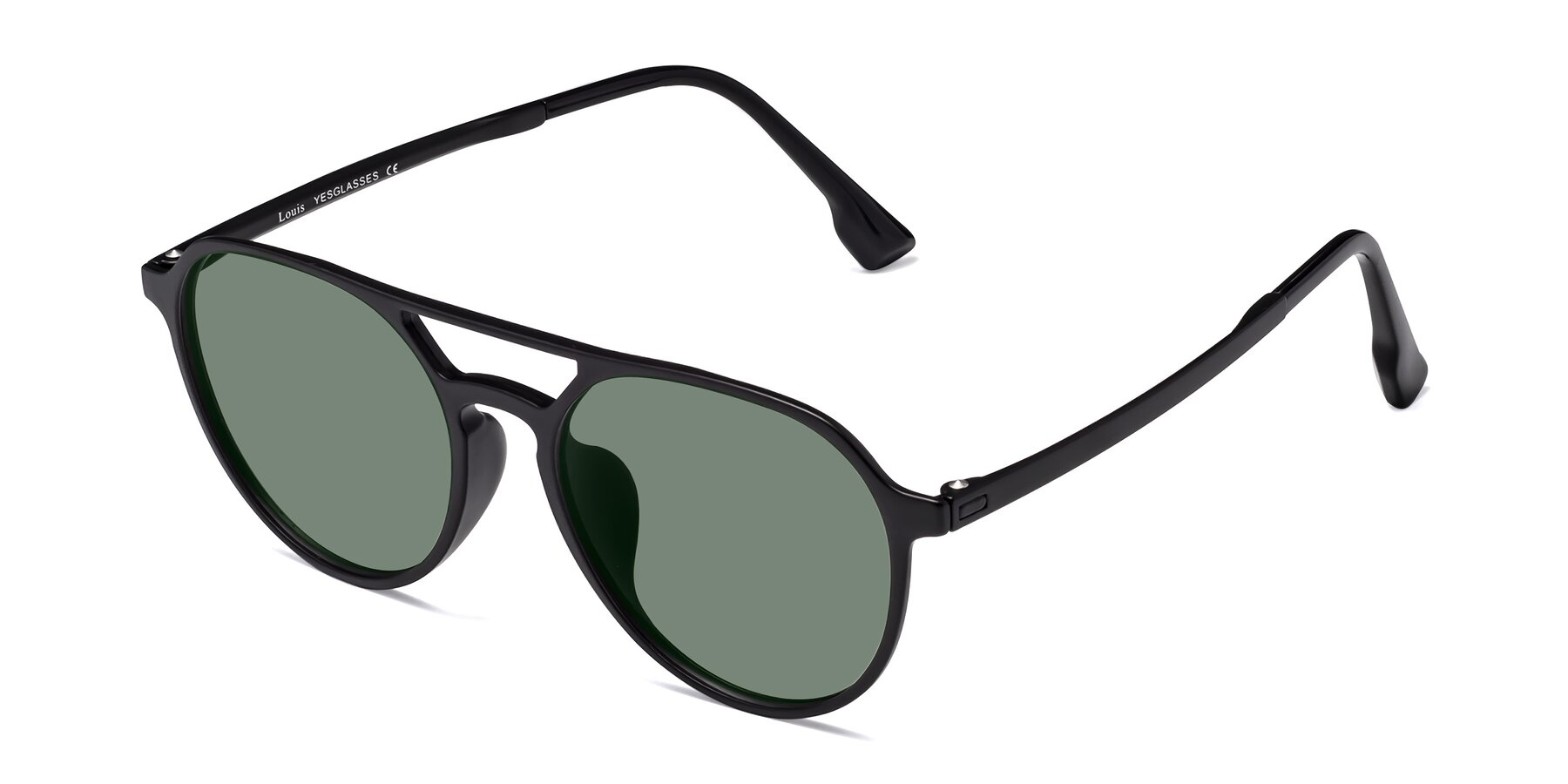 Angle of Louis in Matte Black with Medium Green Tinted Lenses