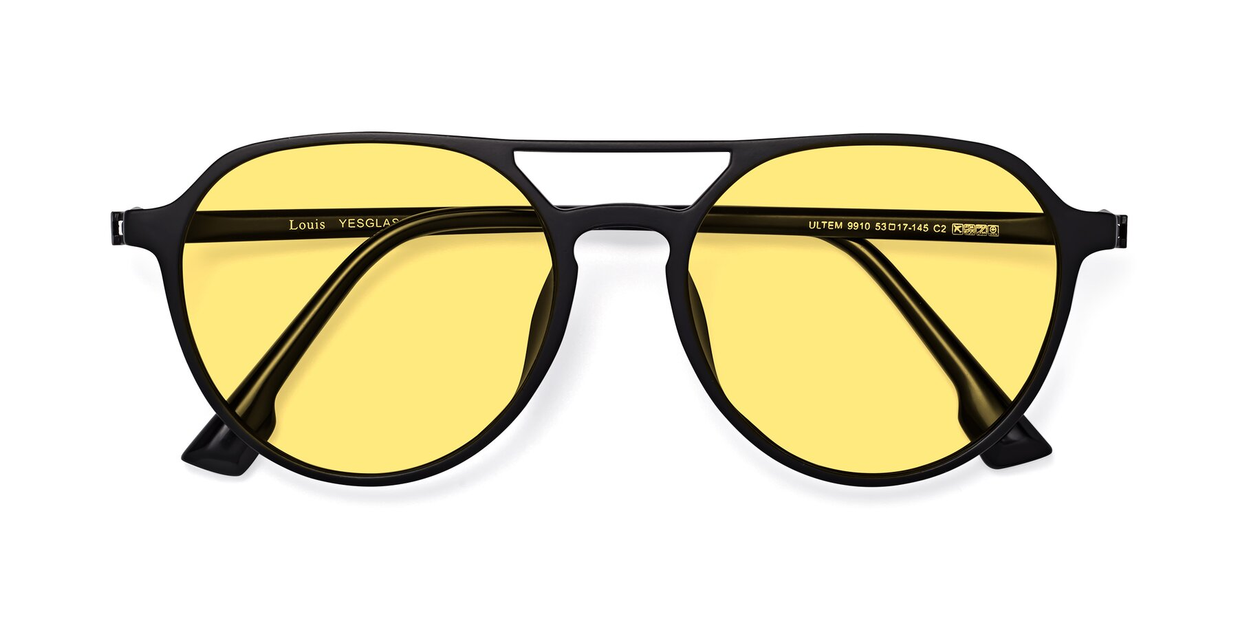 Folded Front of Louis in Matte Black with Medium Yellow Tinted Lenses