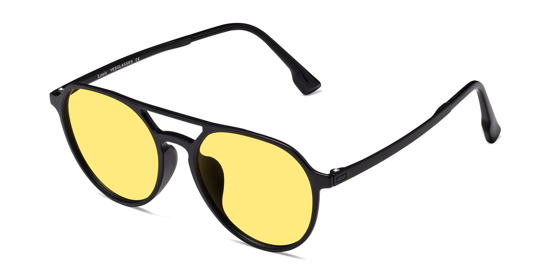 Angle of Louis in Matte Black with Medium Yellow Tinted Lenses
