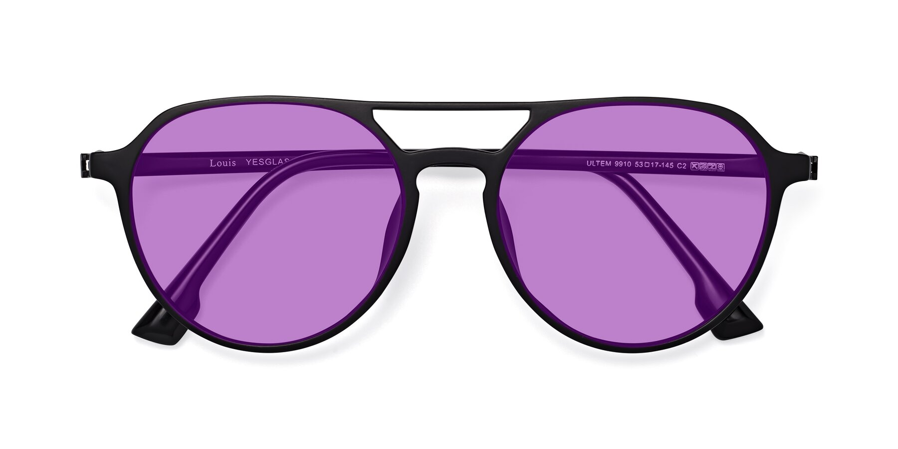 Folded Front of Louis in Matte Black with Medium Purple Tinted Lenses
