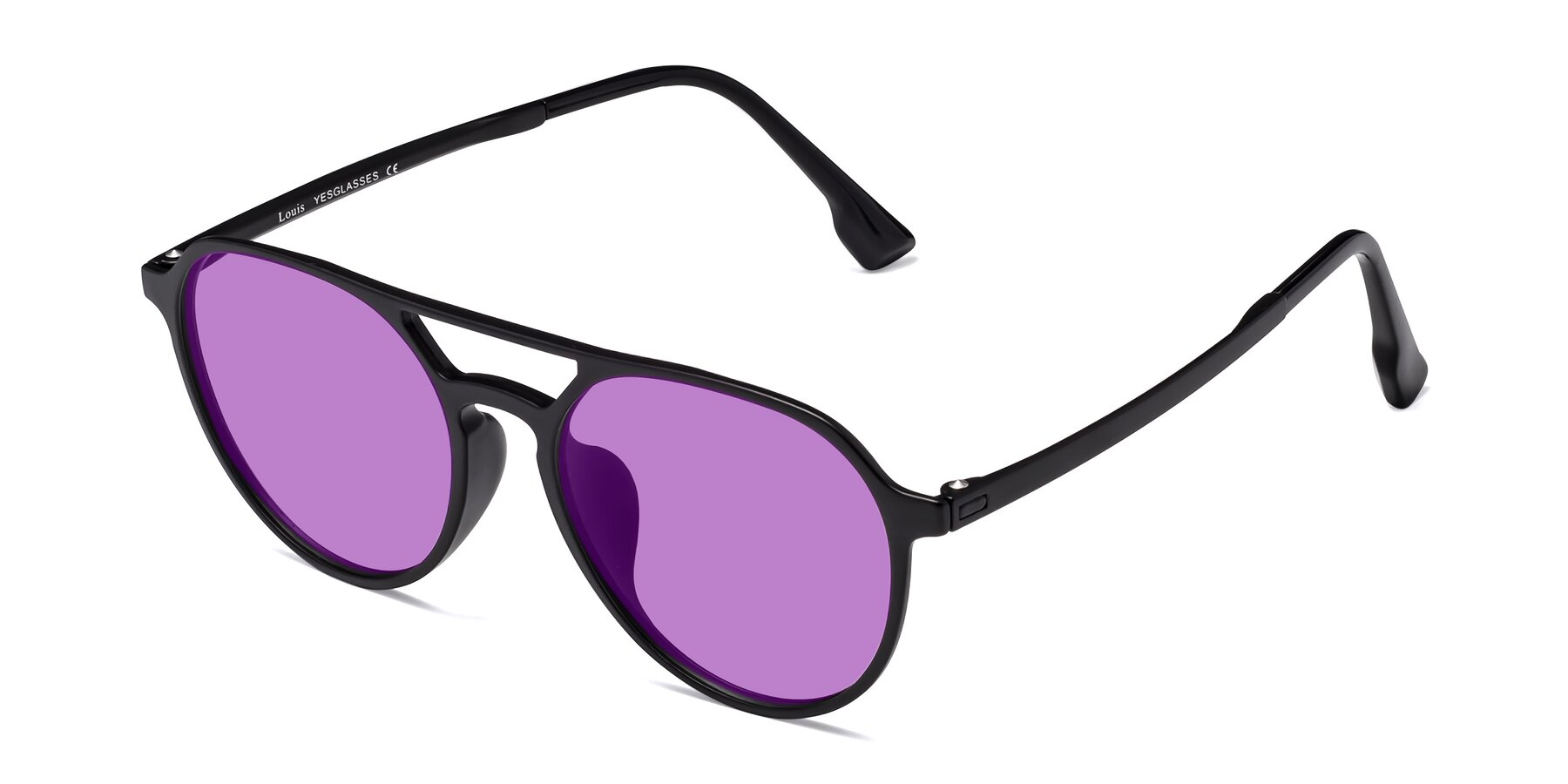 Angle of Louis in Matte Black with Medium Purple Tinted Lenses