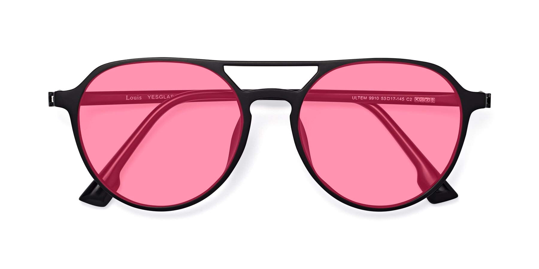 Folded Front of Louis in Matte Black with Pink Tinted Lenses