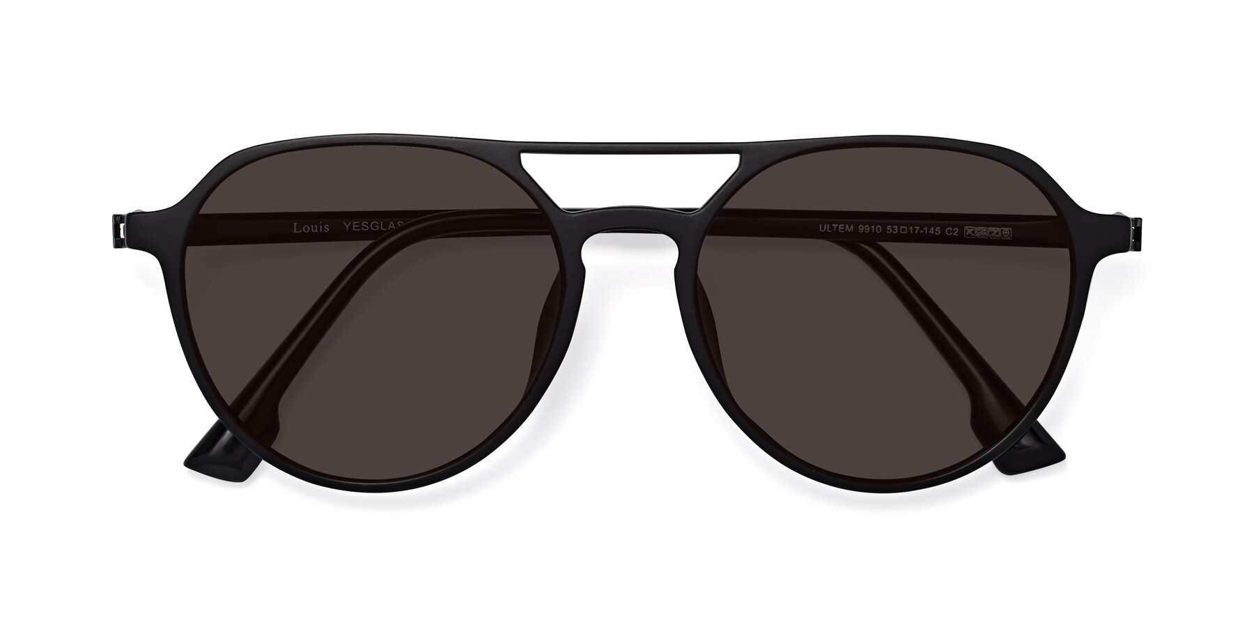 Folded Front of Louis in Matte Black with Gray Tinted Lenses