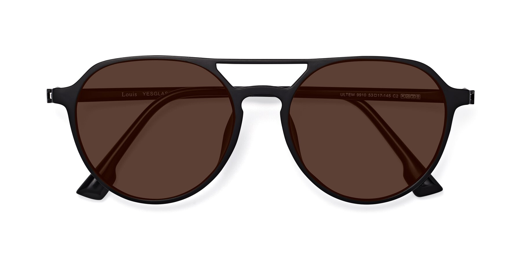Folded Front of Louis in Matte Black with Brown Tinted Lenses