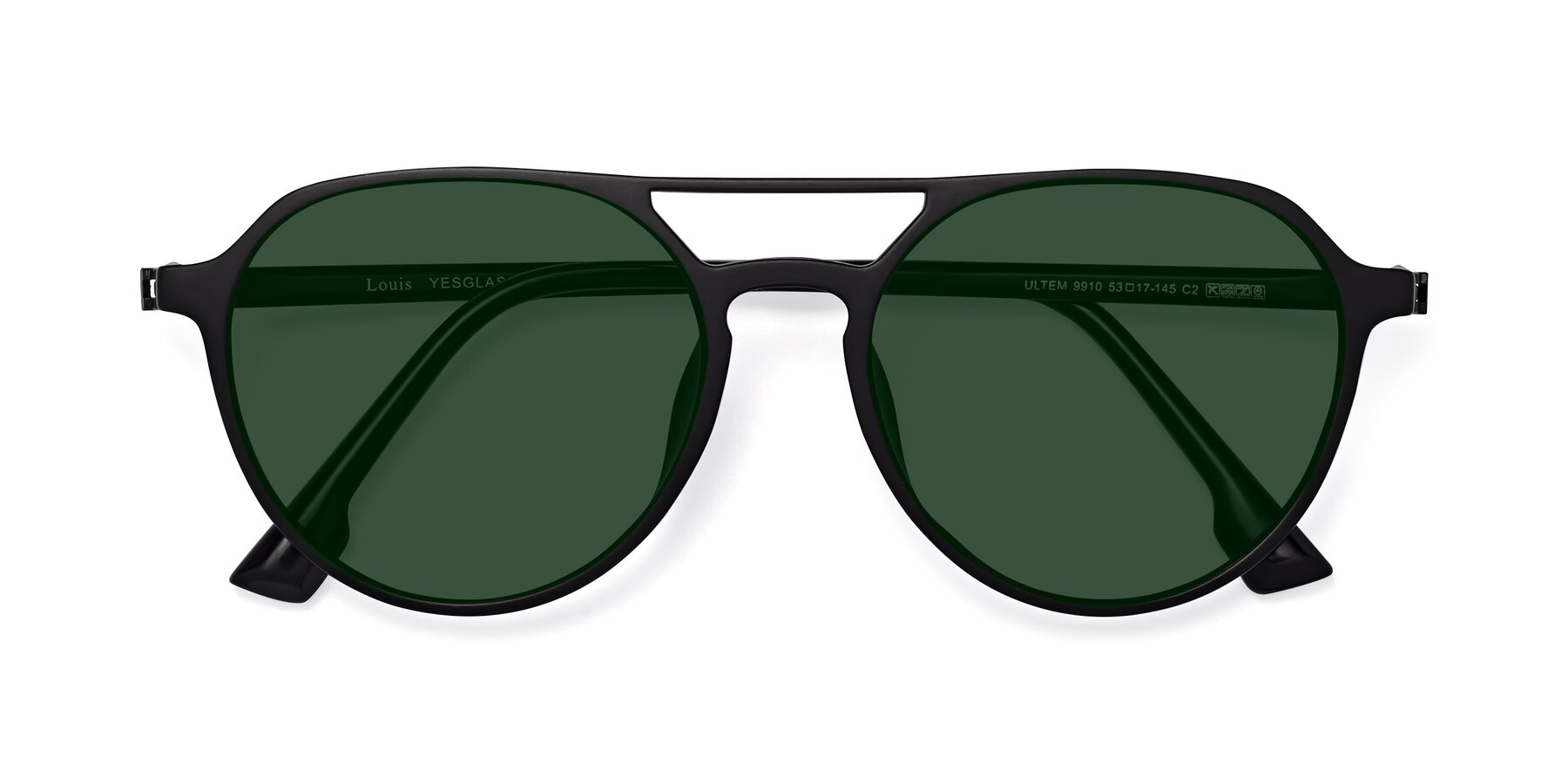 Folded Front of Louis in Matte Black with Green Tinted Lenses