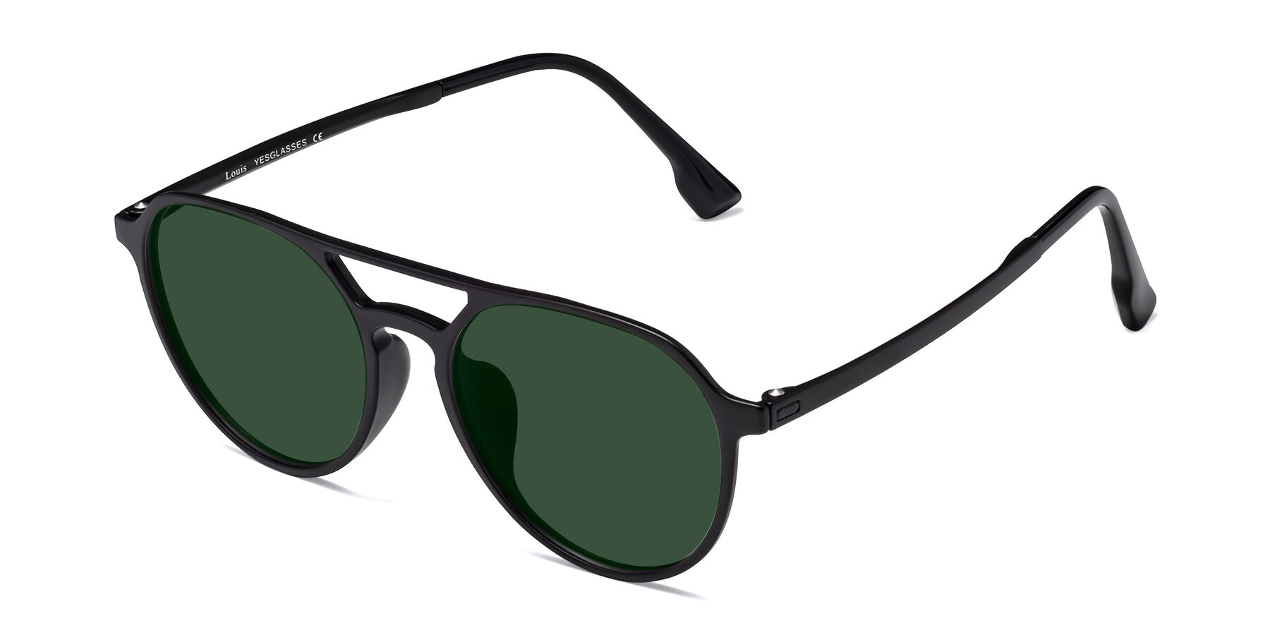 Angle of Louis in Matte Black with Green Tinted Lenses